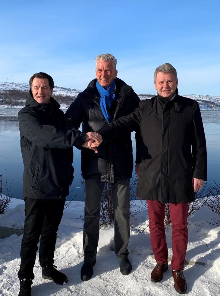 Konsernsjef i Statnett Auke Lont sammen med Per Erik Ramstad og Terje Skansen